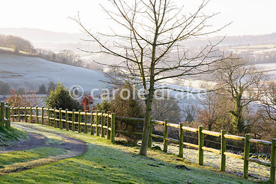 Driveway with frosty Devon countryside beyond