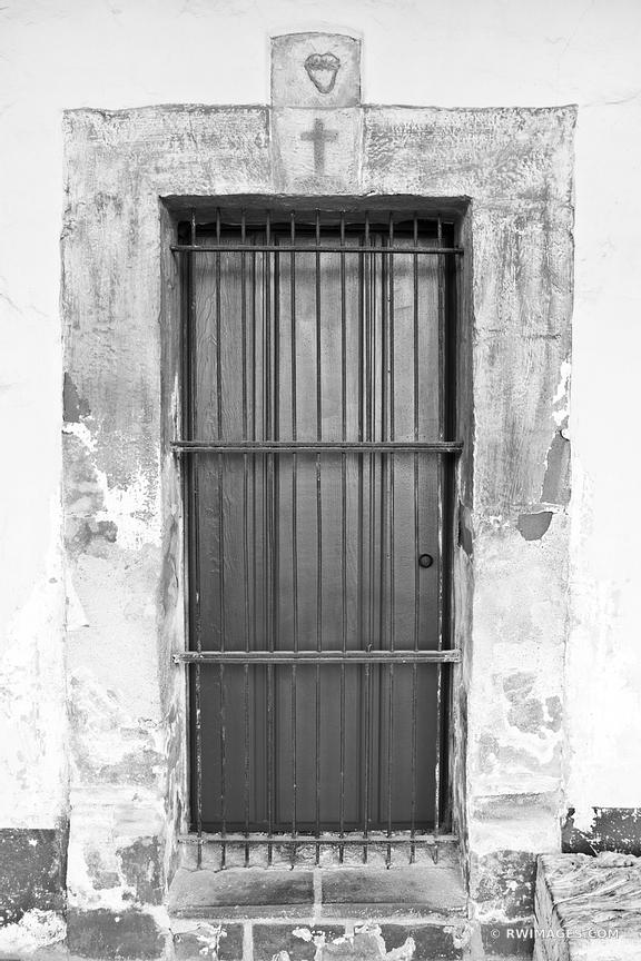 OLD DOOR CHURCH SANTA BARBARA CALIFORNIA BLACK AND WHITE