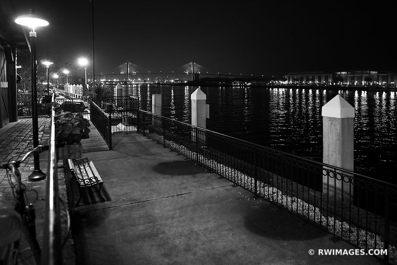 RIVERWALK SAVANNAH GEORGIA EVENING NIGHT BLACK AND WHITE