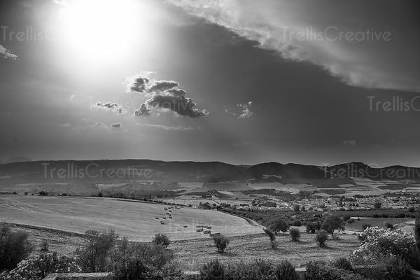 Agricultural landscape on the hills at Zahara de la Sierra, Spain
