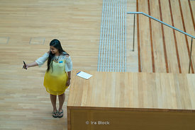 A woman takes a selfie at the National Gallery Singapore in Singapore.