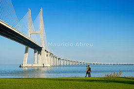Vasco da Gama Bridge over the Tagus river (rio Tejo), Lisbon, Portugal