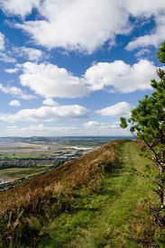 Baglan and Baglan Bay from the Wales Coastal path (high level route) Neath Port Talbot, South Wales.