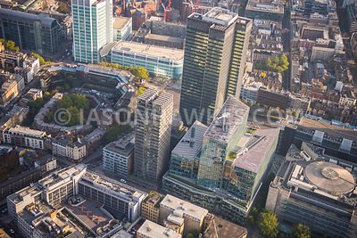 Aerial view of London, Somers Town with Regents Place close up.