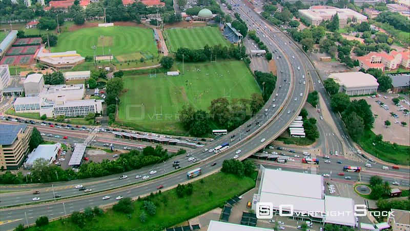 Aerial shot of the highway going into Johannesburg city centre, past Wits University. Pretoria Gauteng South Africa