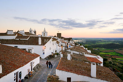 The medieval and historic village of Monsaraz at twilight. Alentejo, Portugal