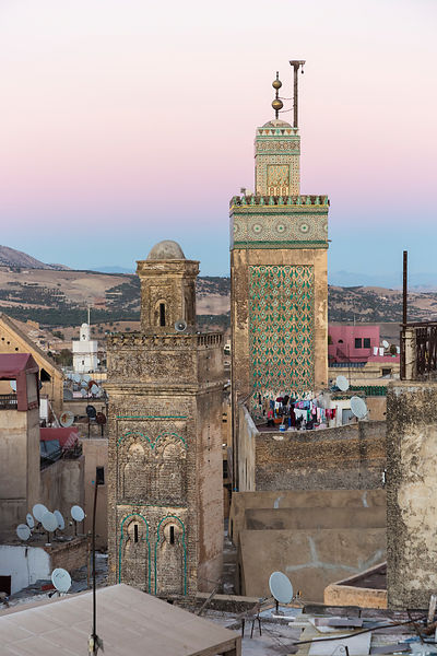 Elevated View of the Mederssa El Bouanania Fes at Dusk
