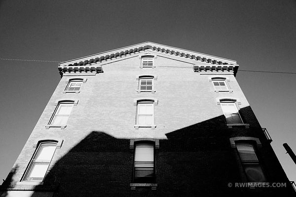 OLD BUILDING FACADE DOWNTOWN PORTLAND MAINE BLACK AND WHITE