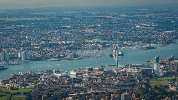 Aerial View of Portsmouth Harbour, with Spinnaker Tower; Portsmouth