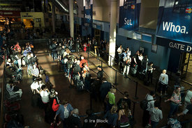 Passengers line up at Union Station, Washington DC for Amtrak.