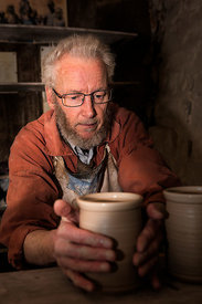 Potter at John Leach Potteries