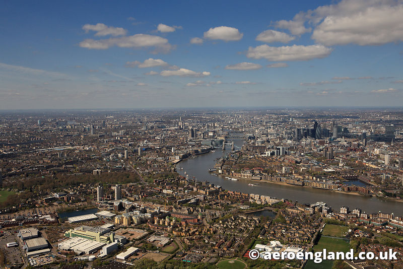 aerial photograph of Rotherhithe Southwark London UK