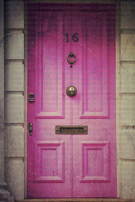 Old wood door in pink  Digital Filtering..Notting Hill, London, UK
