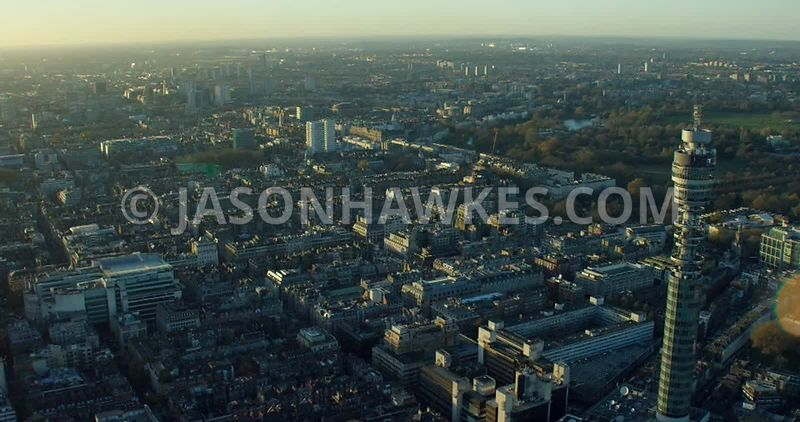 Aerial footage of Marylebone and the BT Tower at sunset