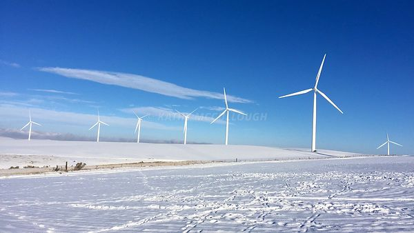 Wind towers in the snow
