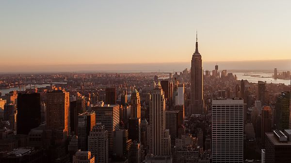 Bird's Eye: Manhattan Sunset Over The Empire State Building & Hudson River