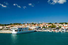 Argostoli-Lixouri ferry,Lixouri harbour and town, Paliki Peninsula, Kefalonia, Ionian Islands, Greece.