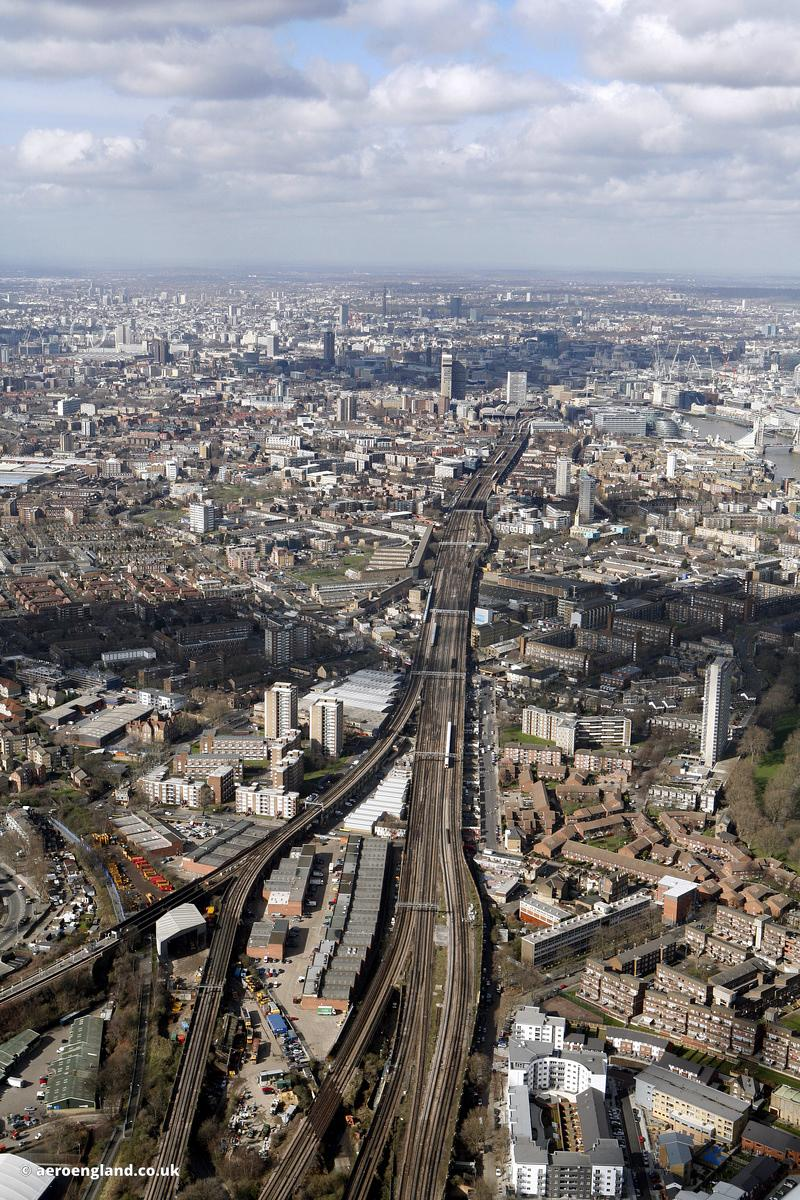 The London Bridge – Greenwich Railway Viaduct and site of the former Southwark Park railway station on the London and Greenwich Railway line. It was at this location that the Spa Road Junction rail crash happened in 1999..In the image can be seen Rotherhithe New Rd, London SE16 2BA, Concorde Way, South Bermondsey railway station  and  Bermondsey Trading Estate, Rotherhithe New Rd, London SE16 3LL