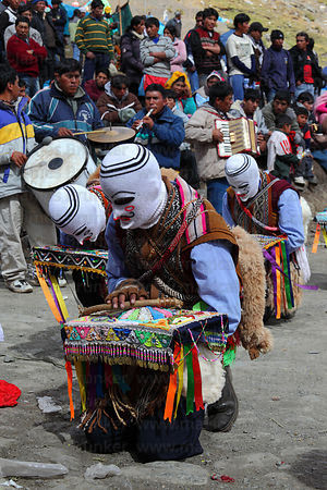 Kapac Qolla / Pablitos dancers paying respect during Qoyllur Riti festival, Peru