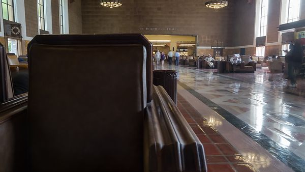 Close Up: Oak & Leather Seats Reveal Union Station's Main Hall (Motion)