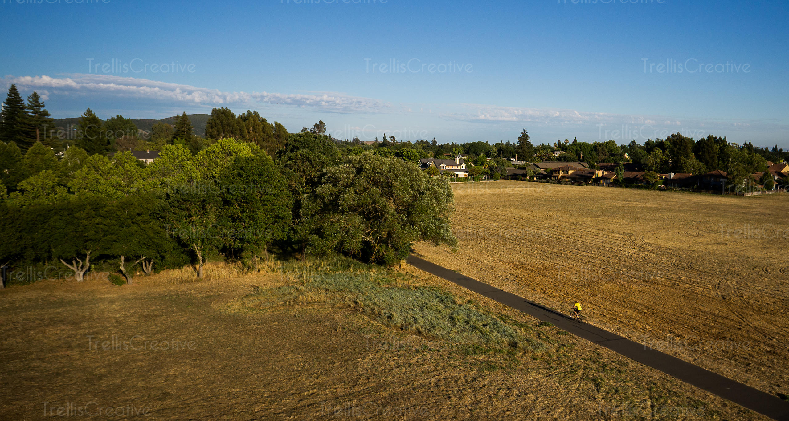 Aerial view of a man cycling down the bike path in Sonoma Valley
