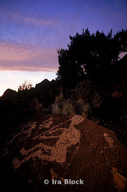 Night view of Anasazi Rock Art etchings in New Mexico