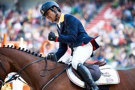 LOPEZ, Carlos, (COL), Prince de la Mare during First round Team competition at Alltech World Equestrian Games at Stade Michel D' Ornano, Caen - France