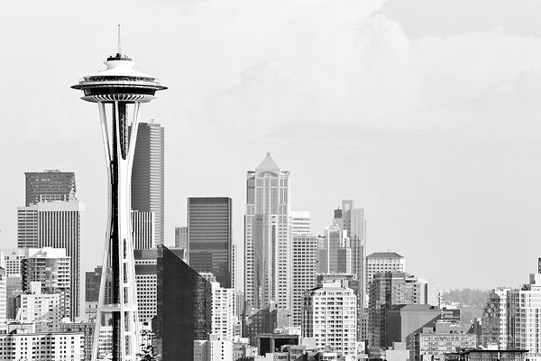 SEATTLE SKYLINE WITH SPACE NEEDLE BLACK AND WHITE