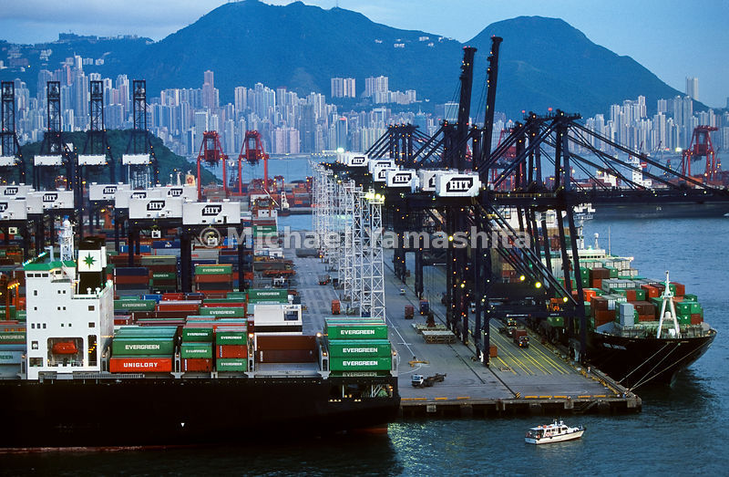 Hong Kong Harbor - H.I.T. - Hong Kong International Terminal, World's largest container port..Hong Kong China