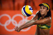 RIO DE JANEIRO, Brazil, AUGUST 15.# Beach Volleyball,  Women's Quarterfinal. Larissa/Talita (BRA) vs Heidrich/Zumkehr (SUI). Brazil won by 2-1 sets. Photos angelos zymaras