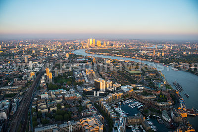 Aerial view of Wapping, London