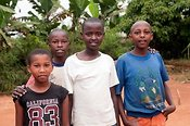 Four friends, Young boys, Rwanda.