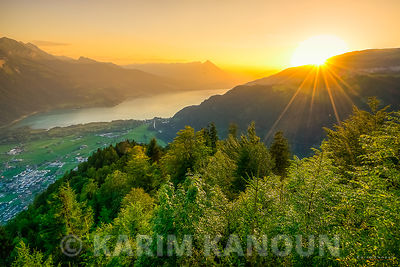 Interlaken sunset from Harder Kulm - Bern