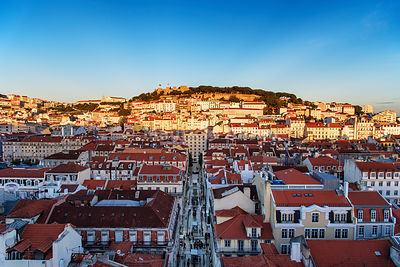 The historic centre and São Jorge castle at sunset. Lisbon, Portugal