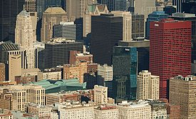 Aerial photograph of downtown Chicago skyline