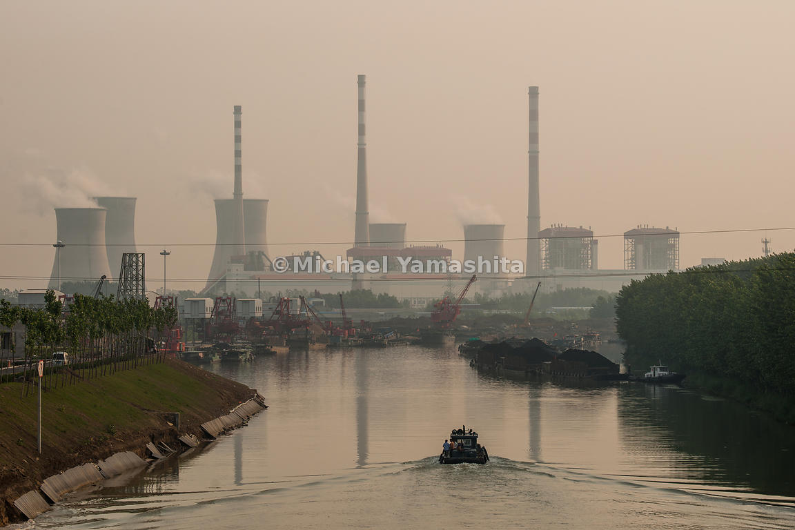 End of navigable Grand Canal and last loading dock at Yuejin Port, Jining city power plant