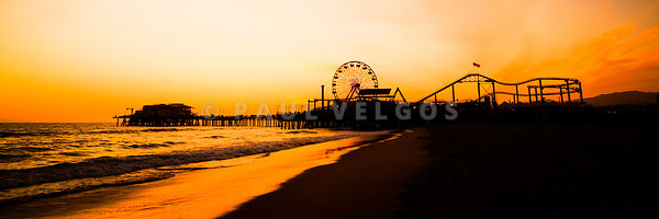 Santa Monica Pier Sunset Panorama Picture