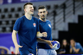 Ljubo Vukic, Rajko Prodanovic of team Meshkov Brest training during the Final Tournament - Final Four - SEHA - Gazprom league, Skopje, 12.04.2018, Mandatory Credit ©SEHA/ Stanko Gruden