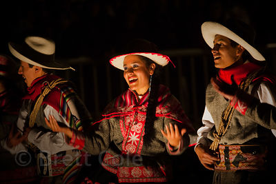 Dancers at night near Korikancha, Cusco, Peru