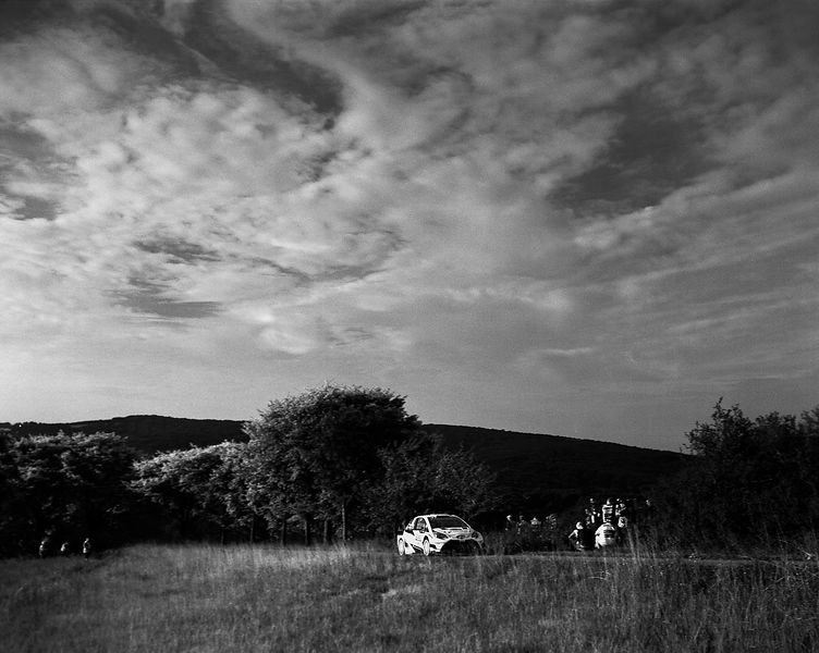 Area Swiss 4X5 - Symmar 5,6/150 mm - Bergger film 400 Iso- Red filter-photo Francois Baudin / Austral, black and white picture with analog camera during Rally Deutschland in Bostalsee, on August 16, 2017