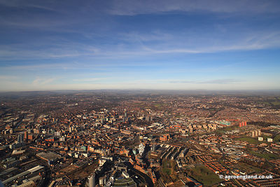 panoramic aerial photograph of Leeds Yorkshire UK