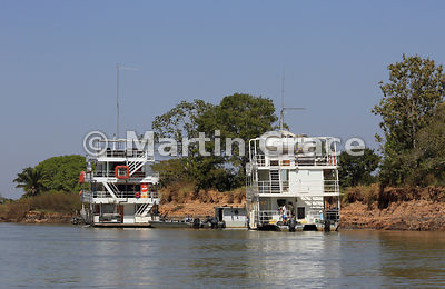 Tourist riverboats, River Piquiri, Northern Pantanal, Mato Grosso, Brazil