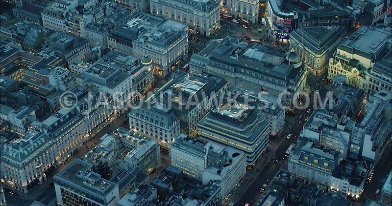 London Aerial Footage of Haymarket and Piccadilly