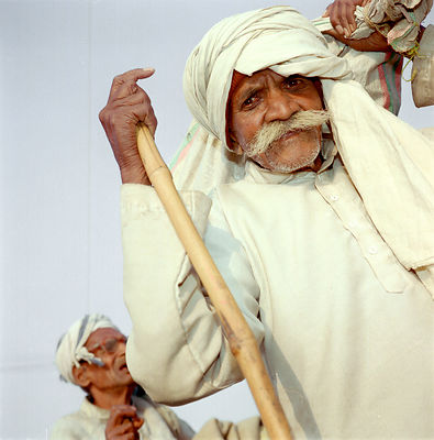 Elderly pilgrims at the Kumbh Mela