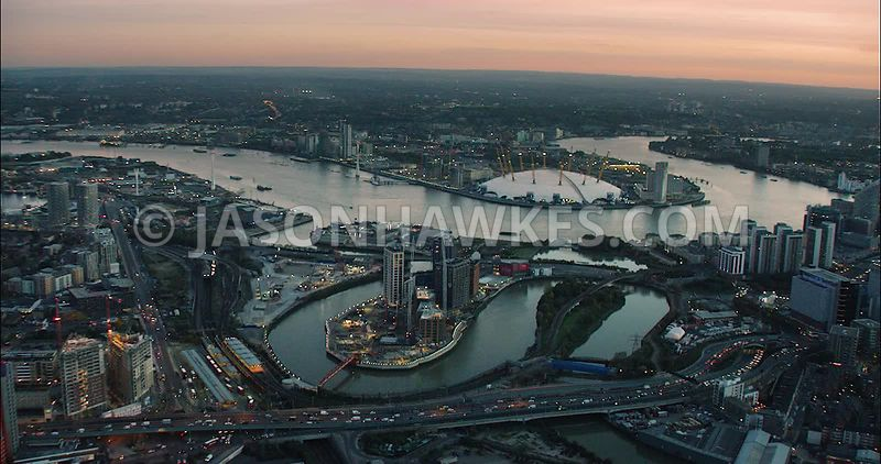 London Aerial Footage of London City Island,