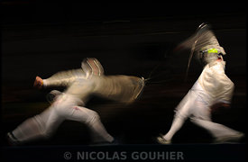 France's Julien Pillet, Boris Sanson and Nicolas Lopez beat USA's Tim Morehouse, Keeth Smart and James Williams during the match for the gold on men's team sabre at the Fencing Hall during day 9 of the Beijing 2008 Olympic Games in Beijing, China on August 17, 2008. Photo by Gouhier-Hahn-Nebinger/Cameleon/ABACAPRESS.COM.