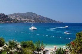 Beach and Yachts, Kalkan, Lycian Coast, Turkey, Asia.