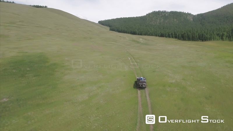 Back Road Travelling Drone Video Mongolia