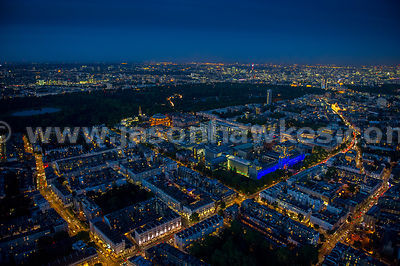 Aerial view of the Natural History Museum at night, London