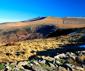 Corn Du and Pen Y Fan from Craig Cerrig Gleisiad Brecon Beacons national park Wales